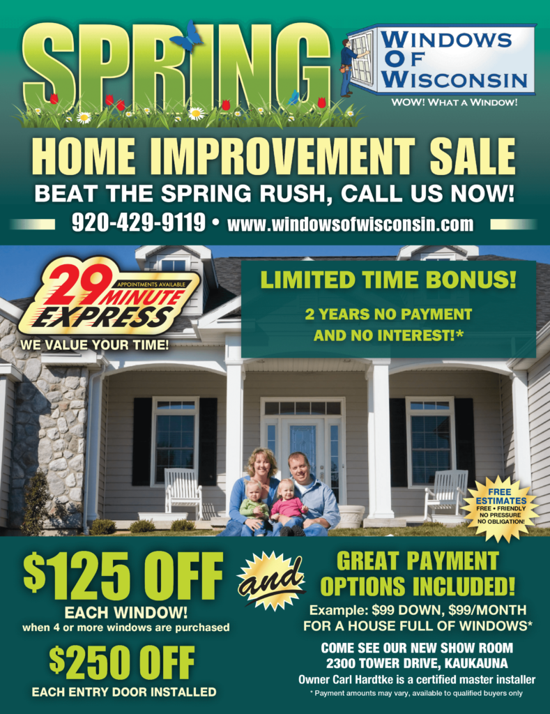Spring Home Improvement Sale. $125 off each window and great financing options.