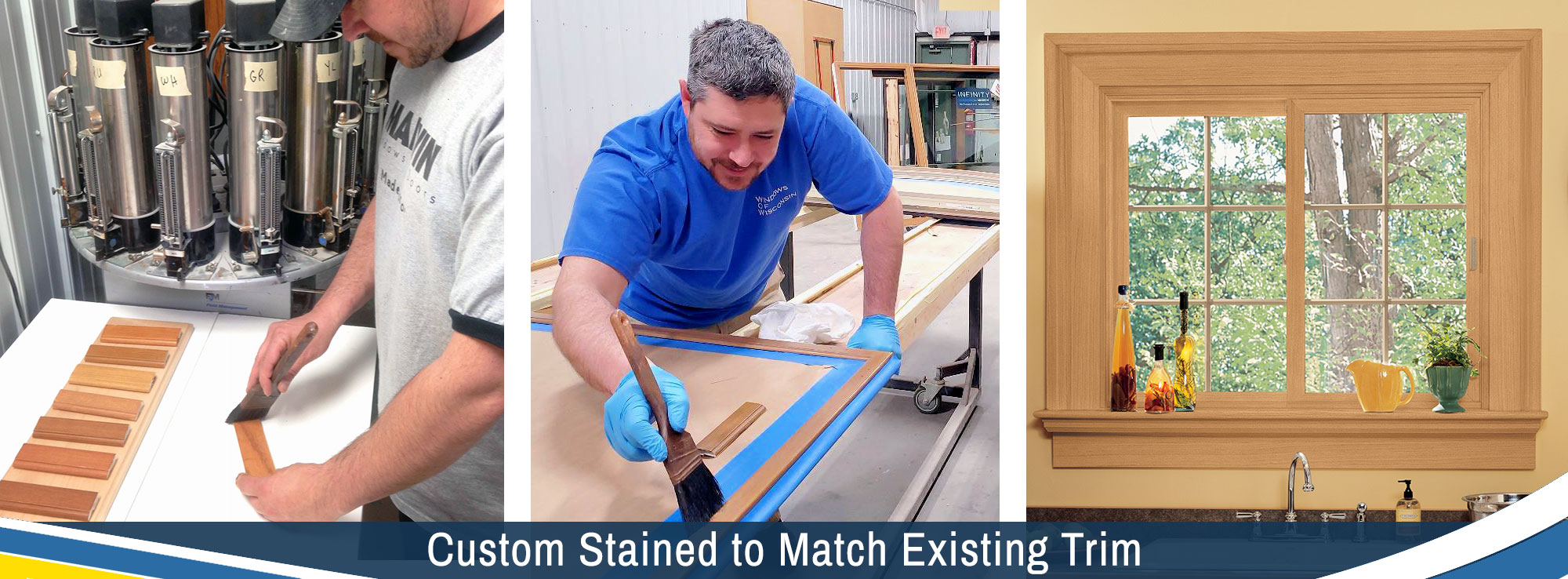 Windows Are Custom Stained to Match Your Existing Trim in Green Bay and Appleton
